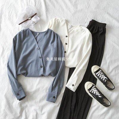 集美屋韓國女裝春季2019新款女裝正韓百搭設計感小眾單排扣V領長袖襯衫寬松上衣