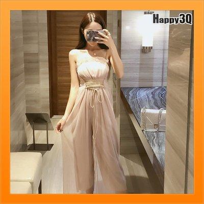 綁帶顯腰身褲裙露肩膀露鎖骨性感洋裝一件式OnePiece-杏/黑S-XL【AAA4513】