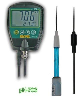 TECPEL泰菱》 PH706  酸鹼計 PH計 水質檢測 電極 溫度 微伏 溫度補償 PH-706 另可測 ORP