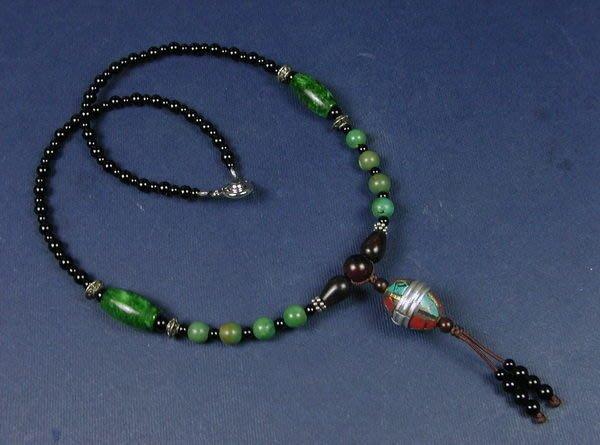 藏珠物流中心 鑲嵌綠松珊瑚銀珠*緬甸玉*綠松石項鍊**秀氣女款☆F033☆