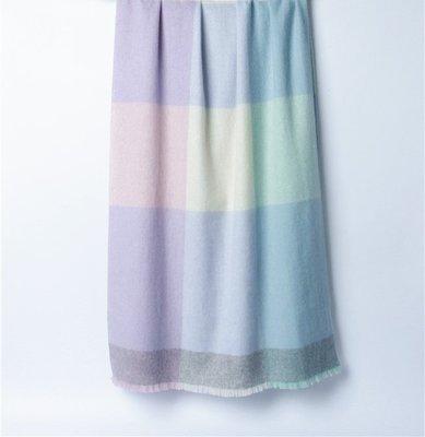 柔美色織格紋系列-100% Cashmere柔粉 粉紫 柔黃 粉綠 粉灰多色交織撞色中厚織喀什米爾色塊短穗圍巾披肩蓋毯