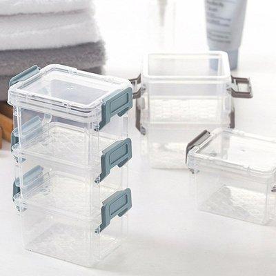 迷你三層與兩層Lock透明文具小物收納箱 整理盒【JI2244】《Jami Honey》