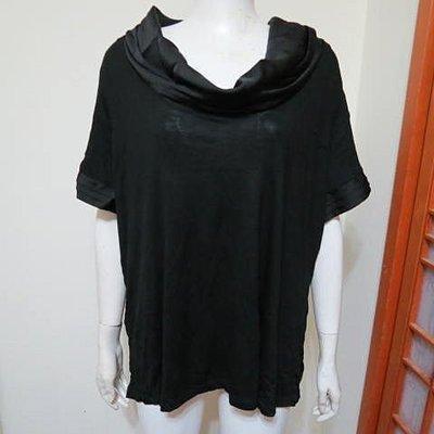 全新大尺碼CYNTHIA ROWLEY黑色垂領短袖顯瘦上衣~1X(胸圍44寸)