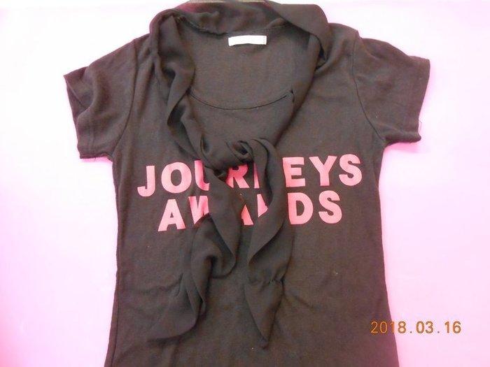 《黑色假兩件披肩條紋綁帶T恤 》 保存良好【 CS超聖文化2讚】