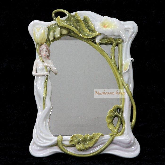 點點蘑菇屋 精緻歐洲高級瓷器亞諾弗系列-女人與海竽桌鏡 壁掛鏡 掛鏡 鏡子 化妝鏡 梳妝鏡 擺飾 藝術品 現貨 免運費