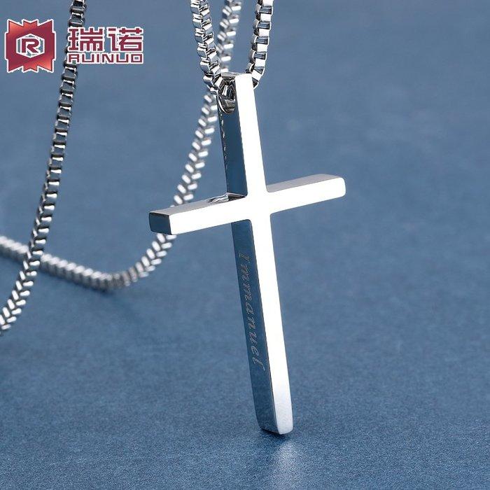 韓國Baby~免費刻字十字架項鍊男潮人正韓簡約吊墜男學生鈦鋼情侶項鍊毛衣鍊