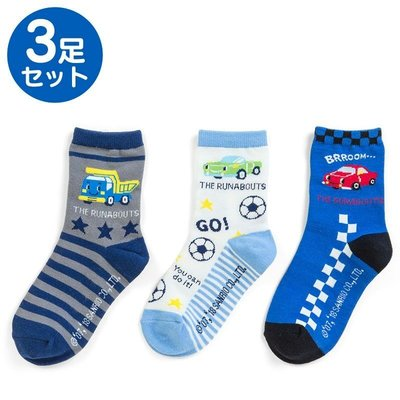 Sanrio 日本正版 Runabouts 兒童中筒襪 3對裝 16-18cm