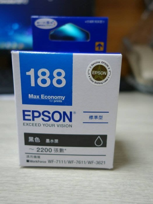 (含稅價)EPSON T188/188/T188150 原廠墨水匣適WF3621 / WF7111 / WF7611 ①