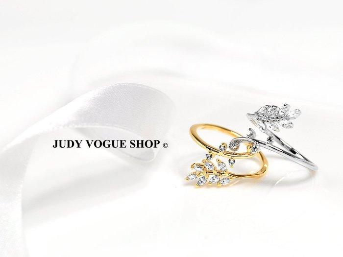 韓國 戒指 Victoria 葉子造型鋯石戒指 可調式戒指 雜誌款式 JUDY VOGUE SHOP【JRI-0010】