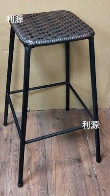 【中和利源老店專業家】全新【可疊高】60公分 2尺 仿 藤椅 手工編織 鐵椅 高腳 工業風鐵件 吧檯 櫃台椅 造型 餐椅