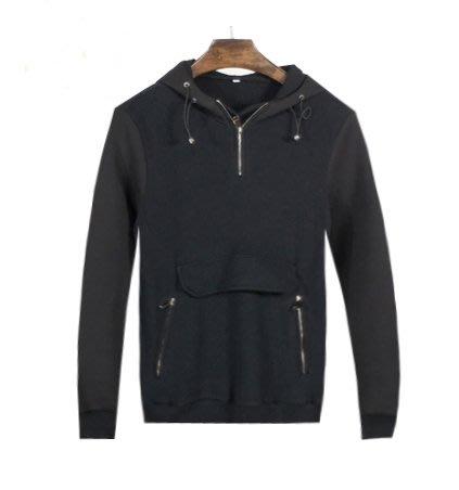 [C.M.平價精品館]M、L零碼現貨出清特價/男女生適穿帥氣有型設計款簡單大口袋黑色連帽長袖T恤