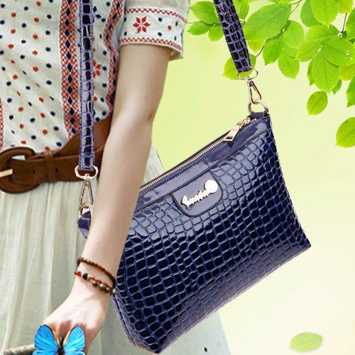 ~Linda~春季新款韓版時尚手提包漆皮女包小方包女士單肩斜挎包小包包