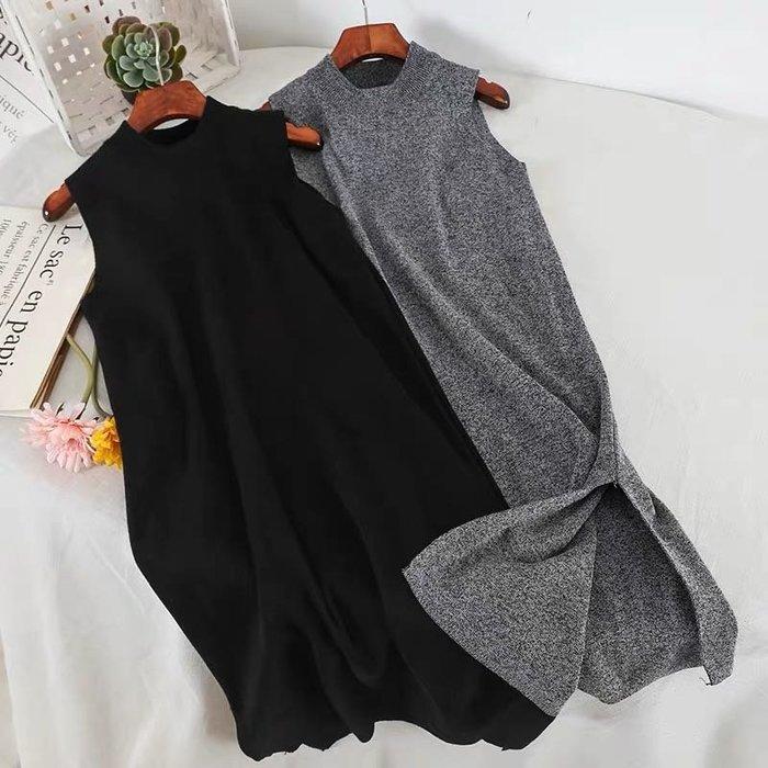 韓版氣質針織開叉連身裙無袖洋裝