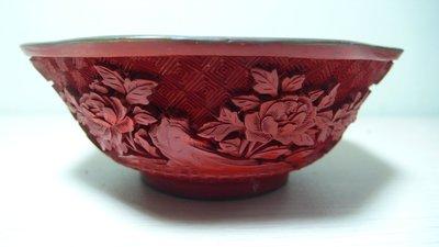 銅胎藍琺瑯內彩剔紅碗