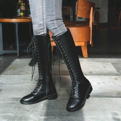 MIX style SHOP【S-603】英倫淑女風❤黑色前繫帶馬丁靴側拉鍊長筒粗跟騎士靴/35-43大尺碼