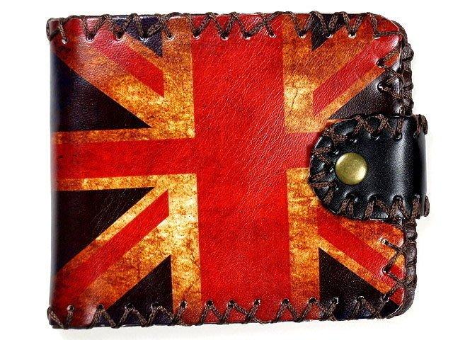 【 金王記拍寶網 】330. 英國風  復古風 手縫短夾 手工皮夾 女用 男用 中性 市面罕見稀少