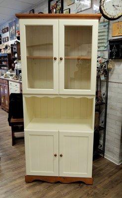 鄉村風家具 原木收納櫃 雙色四門櫥櫃 玻璃展示櫃 立櫃 餐櫃  備餐櫃 (原木+象牙白色) 全實木