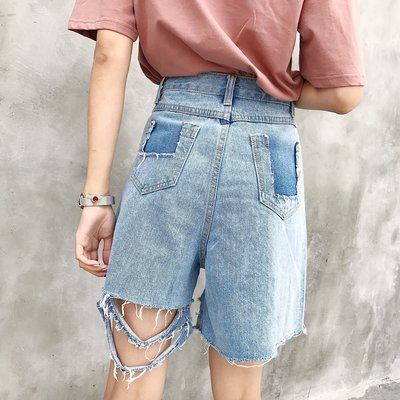 夏裝韓版寬松不規則破洞做舊五分闊腿褲顯瘦高腰百搭牛仔褲女短褲