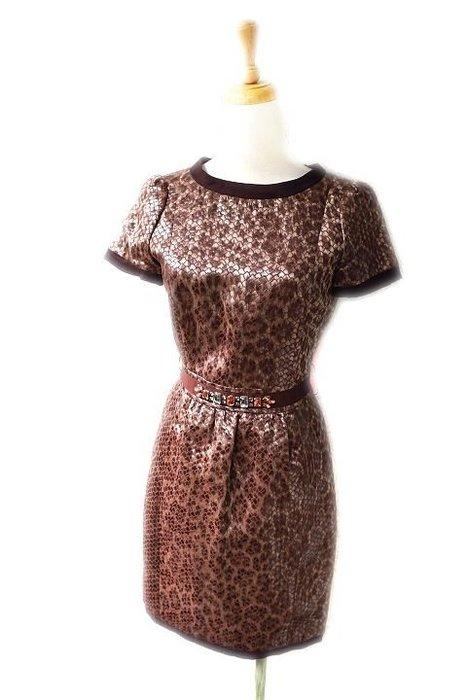 *Beauty*Blugirl水鑽腰帶咖啡色提花短袖洋裝 I38號 售13800元 WE17加圖