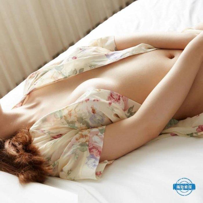 浴袍火辣透明性感情趣睡衣女夏薄紗冰絲內衣成人日式日本和服睡袍騷