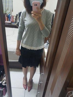 小美M.H-全新NICE CLAUP/ one after another黑色內層雪紡混羊毛及膝裙S號