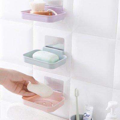 ☜shop go☞【P408】笑臉無痕貼壁掛式肥皂盒 衛生間 浴室 廚房 強力 無痕貼 香皂托 瀝水架