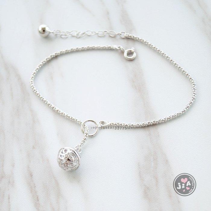 【Jia' s】通花球鈴鐺純銀腳鍊粗鍊S925。正生純銀
