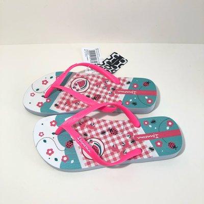 《現貨》Ipanema 女生 拖鞋 巴西尺寸36(甜蜜野餐 人字夾腳平底拖鞋-藍/粉紅帶)