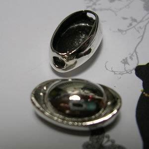 琥珀貓~【925純銀材料配件】造型珠~N9737款~銀元寶~14mm~一個
