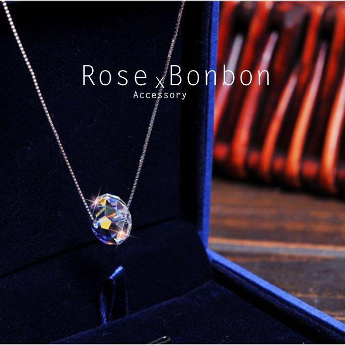 奧地利水晶 S925純銀項鍊 單鑽圓球吊墜鎖骨鏈 簡約幾何 短項鍊 情人送禮Rose Bonbon G4N02