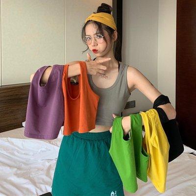 韓版網紅泫雅百搭顯瘦無袖內搭外穿粗肩帶瑜珈背心女學生上衣潮