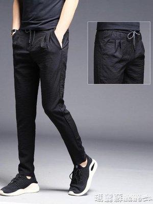 運動褲 男褲子夏季男士超薄冰絲寬鬆長褲薄款運動男裝韓版潮流夏天休閒褲
