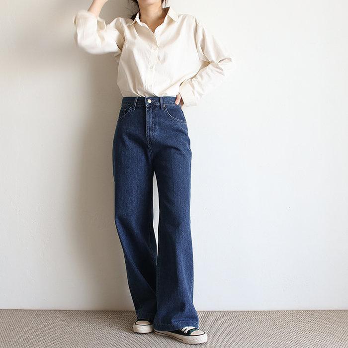 girlmonster 正韓 寬管深藍牛仔長褲 【A0607】