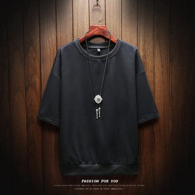 【型男風尚】AZ2012*胸102-132CM 夏款純色七分袖短T 男士大碼寬鬆圓領 6色