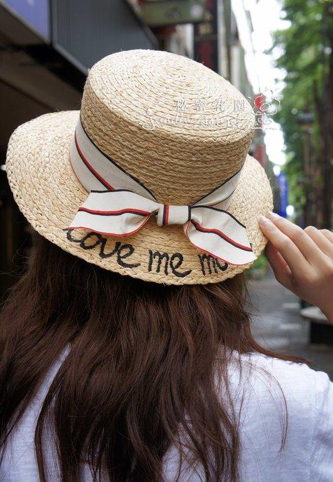 雙色蝴蝶結刺繡字母編織草帽/手編草帽/遮陽帽/小盆帽/籐編帽/渡假必備/可內調帽圍