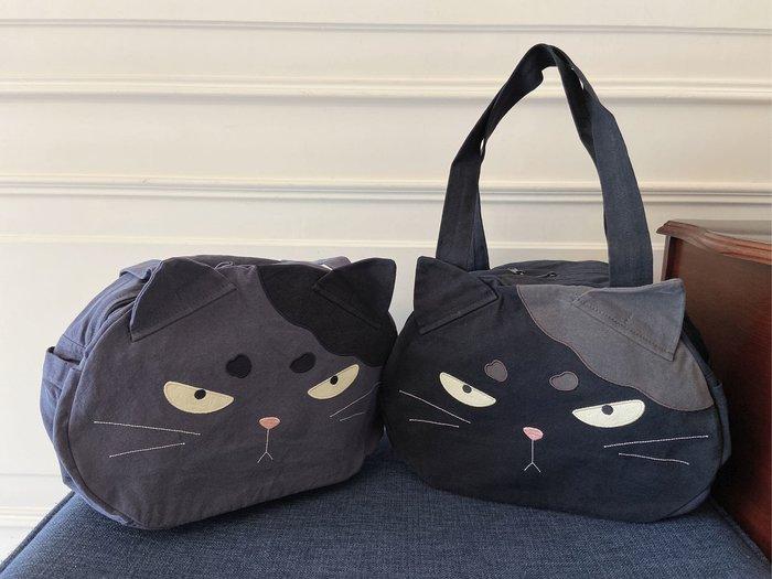 日本卡拉貓~大頭酷酷貓雙拉鍊側背包