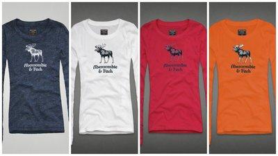 Abercrombie&Fitch 麋鹿時尚款式,美國麋鹿女生長袖T恤纯棉休閒T恤 【A&F全新品】