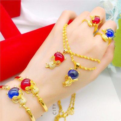 送禮佳品 銅鍍金微鑲紅寶石狐貍吊墜女日韓仿越南沙金項鏈首飾套裝久不掉色