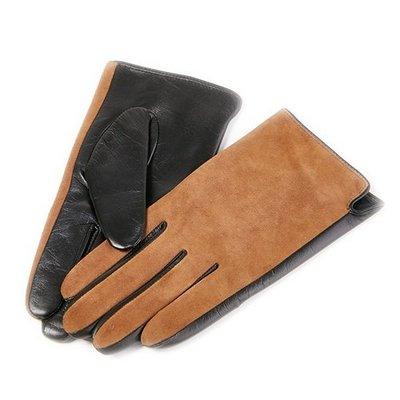 觸控手套 真皮手套-山羊皮拼接磨砂皮加絨女手套3色73wm75[獨家進口][米蘭精品]