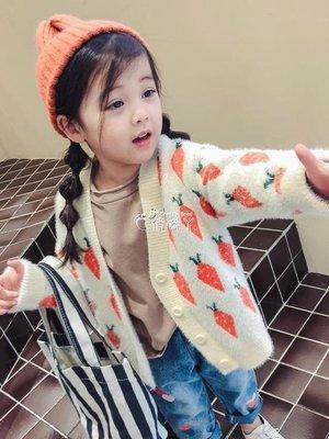 【M.S.FeeL】女童毛衣 童裝女童秋季新款韓版毛衣外套秋裝寶寶針織開衫秋卡通上衣-免運費