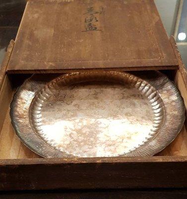 鳳崗文創---{金屬73}---日本老件—純銀青海盆--- 尺寸約:21.5*21.5*2.5cm
