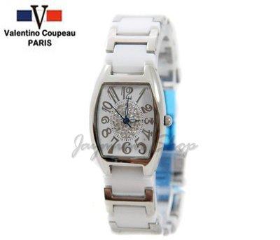 【JAYMIMI傑米】Valentino范倫鐵諾古柏精密陶瓷錶-酒桶型圓心鑽白小款 特價950元