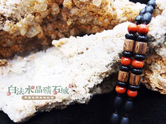 白法水晶礦石城    手工製作 黑瓷珠&木珠&金剛結& 橘色木珠 鍊寬7*5mm 項圈 項鍊  首飾材料