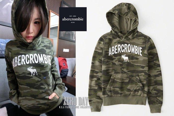 零時差美國時尚網a&f真品abercrombie&fitch boy logo graphic hoodie麋鹿帽T迷彩