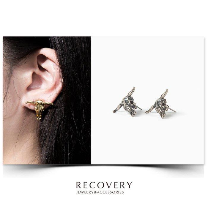 美國東村【Recovery】Bovine Skull Earring 牛頭骨 耳環 ( 亮金 / 古銀 )