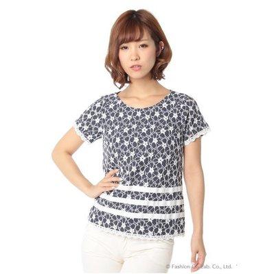 ☆注目の日本製百貨公司品牌 BE RADIANCE 夏新款藍色縷空白蕾絲綿上衣☆