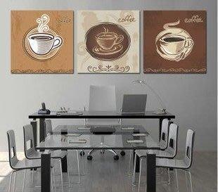 【優上精品】咖啡杯子歐式掛畫三聯畫現代簡約餐廳裝飾畫家居無框畫壁畫(Z-P3246)
