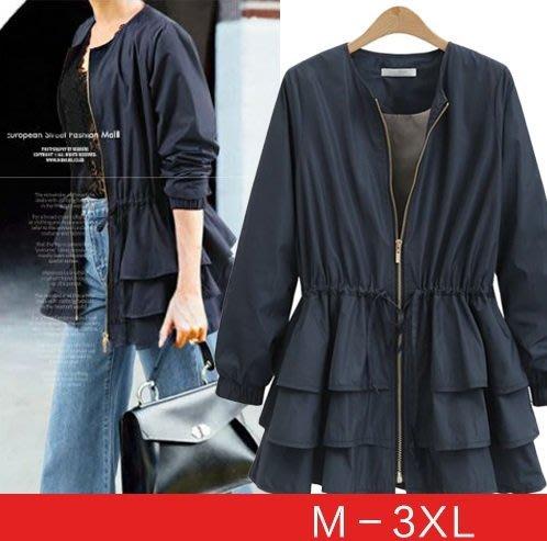 GOGO SHOP☆╭歐美 新款 荷葉下擺收腰長袖外套 收腰風衣 顯瘦外套【Y1980】M-3XL中大尺碼外套