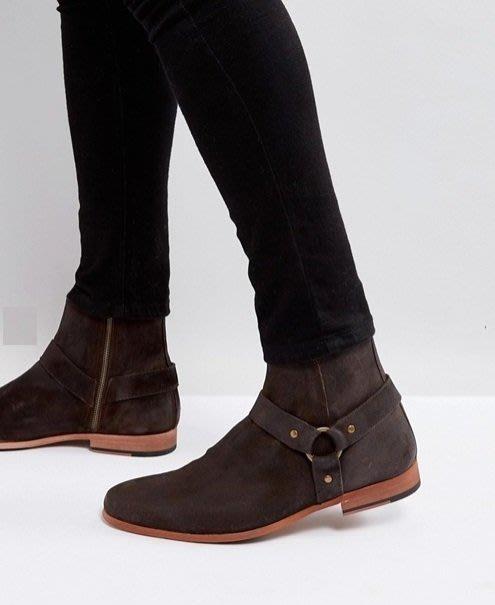 ◎美國代買◎ASOS西部牛仔靴風格金屬皮扣裝飾仿舊刷色巧克力咖啡色圓楦頭側拉鏈短筒靴~大尺碼~歐美街風~