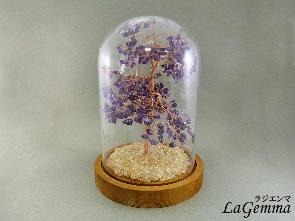 ☆寶峻晶石☆聖誕節特價優惠~簡約現代風 玻璃罩 紫水晶/粉晶 發財樹 生命樹 水晶 家飾, 兩款可選